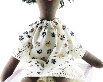 Sleeping doll in floral dress.  Handcrafted Calliope Cloth Rag Doll Vintage Upcycled OOAK Vegan 18 inches