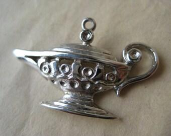 Jeanie Lamp Sterling Charm Pendant Silver Filigree Vintage 925