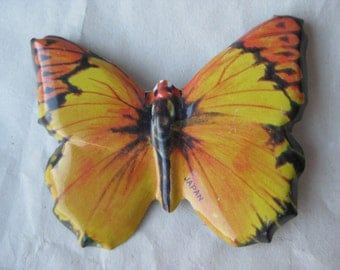 Butterfly Gold Yellow Tin Brooch Pin Vintage Japan