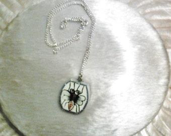 Bee Broken China Pendant Necklace