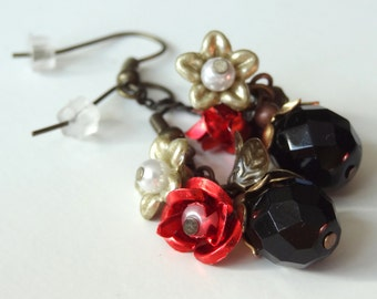 Roxanne - secret garden series red roses and black earrings with vintage parts