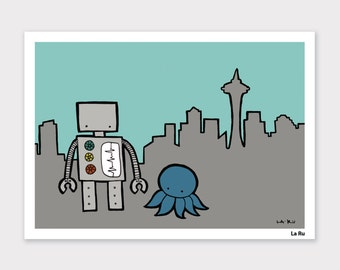 Robot and Octopus go to Seattle Print