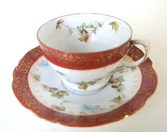 Numbered Vintage / Antique Erdmann Schlegelmilch Cup and Saucer Royal Saxe Germany
