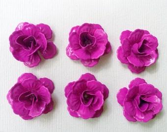 Enamel Metal Deep Fuchsia Pink Magenta Rose Bead 24mm 6 pieces