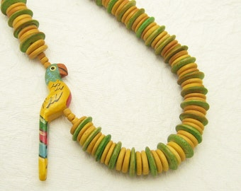 Parrot Necklace Vintage Bird Jewelry N6960