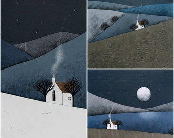 Set of 3 Signed Archival Art Prints - Hygge Winter Landscape Painting - The Quiet of the Night Print Collection by Natasha Newton