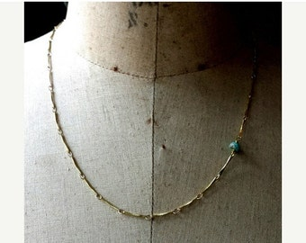 October Sale Dainty Necklace, Gold Brass, Turquoise, Layering Necklace, Minimal, Modern, Simple, Layered, Asymmetric