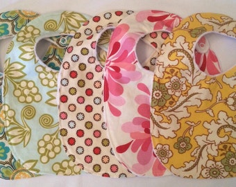 Baby Girl Gift Set - 5 Bibs with snaps and luxurious backing READY TO SHIP