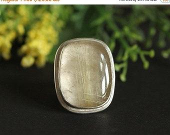 ON SALE Artisan ring- OOAK Rutil Quartz ring - rectangle ring - Custom ring - Bezel ring - Gemstone ring - 925 Sterling Silver ring - Gift f