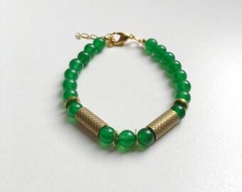 Bracelet: Grass Green Jade and Brass Tubes