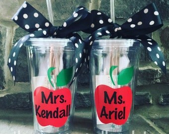 Personalized Apple Teacher Tumbler Cup with Lid and Straw - 16oz