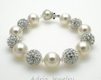 Beaded Wedding Bracelet Pearl Bridal Bracelet, Rhinestone Wedding Bracelet, Classic Bridal Bracelet, Swarovski Bridal Jewelry  T1601211