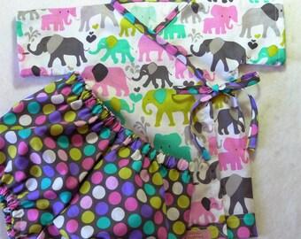 Baby kimono set - Elephant Walk -sizes 0-6 mths, 6-12 mths, 12-18 mths, 18-24 mths
