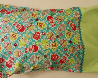 Robots Standard Pillow Case, Approx. 20 inch X 31 inch, Cotton Flannel