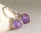 Light Lavender  Sea Glass Earrings Wire Wrapped Cultured SeaGlass Sterling Silver