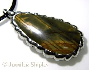 Cherry Creek Jasper Pendant in Silver: Handmade Nickel Free Hypoallergenic Jewelry, Healing Green & Yellow Picasso Jasper Rock Neckklace