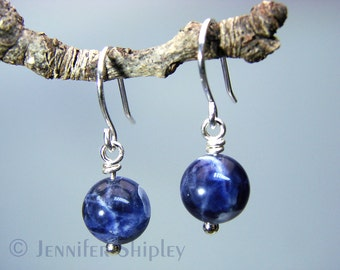 Blue Sodalite Dangle Earrings: Healing Natural Crystal Ball Gemstone Drop Earrings Wire-Wrapped with Nickel-Free, Hypoallergenic Silver