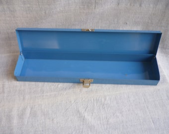 Vintage blue metal box, long, thin metal box, home decor, blue decor, desk organizaion, metal storage box