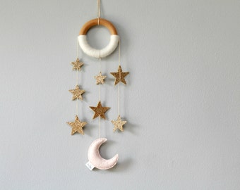 Gold Star Nursery Dreamer. Cascading Star Wall Mobile. Moon and Star Nursery Decor. Handmade by Ordinary Mommy