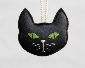 Felt Black Cat Ornament for Cat Lady, Cat Head Ornament for Cat Lover or Pet Owner, Handmade by OrdinaryMommy on Etsy