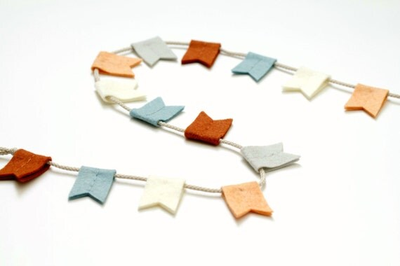Bunting Banner. Felt Notched Flag Garland in Rust and Blue. Autumn Mountain Wall Hanging by OrdinaryMommy