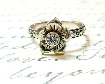 Clara Ring - Sterling Silver Vintage Delicate Flower CZ Ring