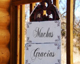 MUCHAS GRACIAS & Esposo and Esposa signs - MATRIMONO, Double Sided Photo Props set of 2 12x6