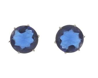 Sapphire Vintage Earrings, Designer Ledo Polcini Statement Earrings, 1940 Fine Vintage Rhinestone Jewelry