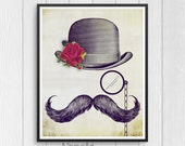 Handsome Mustache - Printable Wall Art Digital Downloads designed by Calico Collage - Print Your Own Images for Home decoration