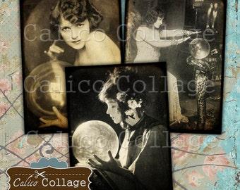 Fortune Tellers, Collage Sheet, Journal Cards, Digital Images, Printable Tags, Halloween Images, Printable Sheet, Digital Download