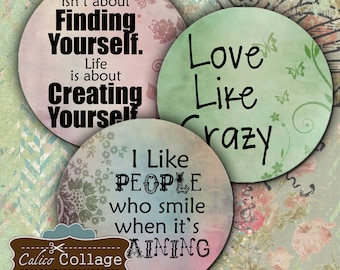 Words to Live By Digital Collage Sheet 2 Inch Circles for Buttons, Magnets, Pendants, Decoupage Paper, Craft Paper, Scrapbooking Altered Art