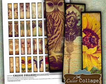 Vintage Eclectic Mix .5x2 Inch Size Images Digital Collage Sheet Printable Download for Pendants, Magnets, Vintage Paper Goods, Scrapbooking