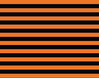 "Black and orange 1/2"" stripes knit cotton spandex lycra 1 yard"