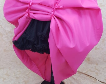 Hot Pink Full Length Bustle Skirt-One Size Fits All