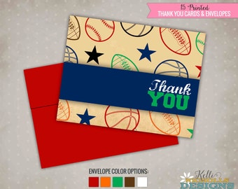Vintage Sports Thank You Cards, Custom Thank You Notes, Baseball, Basketball, Football #B108