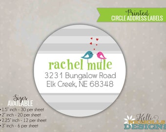 Love Birds Bridal Shower Circle Return Address Labels, Custom Wedding Shower Stickers