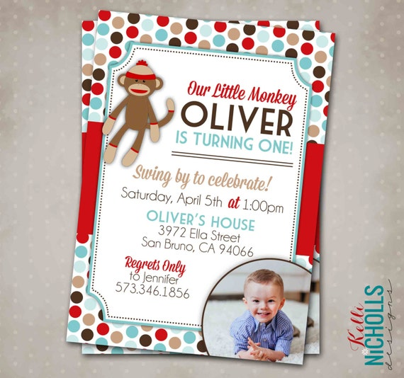 Sock Monkey Boy Birthday Party Invitation, Custom 1st Birthday Printable Sock Monkey Invite