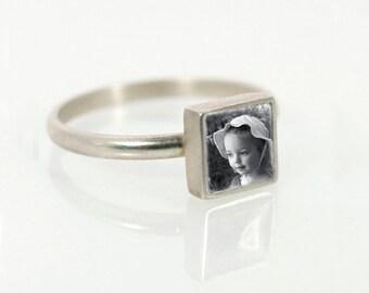 Tiny Silver Square Custom Photo Ring