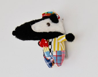 Mr Badger Doll // A Sharply Dressed Badger //  Handmade //  He Can Be Hung on the Wall