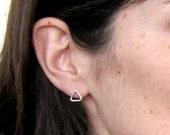 Silver triangle studs, Silver Triangle Stud Earrings, Simple Silver studs, Silver Screw Back Earrings, Silver Triangle Studs
