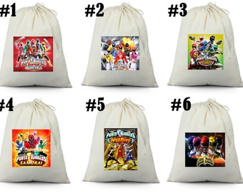 12  Power Rangers Birthday Party Favor Candy Loot Treat Drawstring Bags