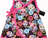 Sugar Skull Dress - Dia De Los Muertos - Skull Clothing - Girls Dress - Punk Rock Clothing - Kimono Dress - Day of the Dead -  size  2t