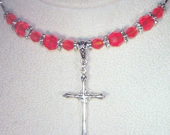 Swarovski Crystal and Sterling Silver Necklace - Shown in Hyacinth - Available in Any Color