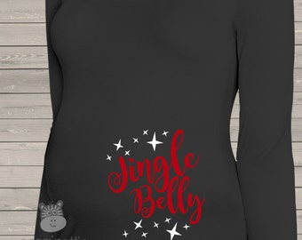 Christmas jingle belly whimsical long or short sleeve maternity or non maternity DARK pregnancy top with stars