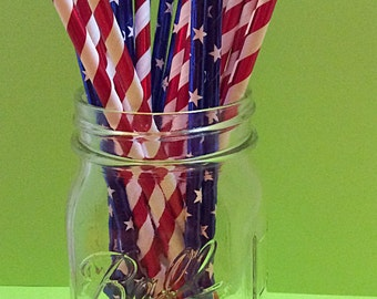 Paper straws - Red,white,and blue American flag straws
