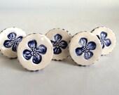 Delft Blue and White ceramic Flower Knobs, Drawer Pulls, Handles