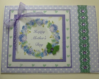 Mother's Day Card, vintage style, blue and lavender, hydrangea wreath, purple and moss green butterfly, happy mother's day,