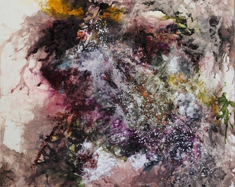 """Ink and Wine Galaxy - large original mixed media painting - 48 x48"""" - fine art - FREE SHIPPING"""