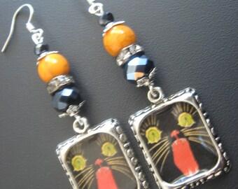 Black Cat Earrings, Black Cat Jewelry, Zombie Earrings, Zombie Jewelry, Halloween Earrings, Halloween Jewelry, Rhinestone Jewelry