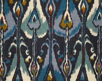 Blue Ikat Curtains, Hipster Drapes, Boho Decor, Designer Bohemian Window  Curtains, Modern